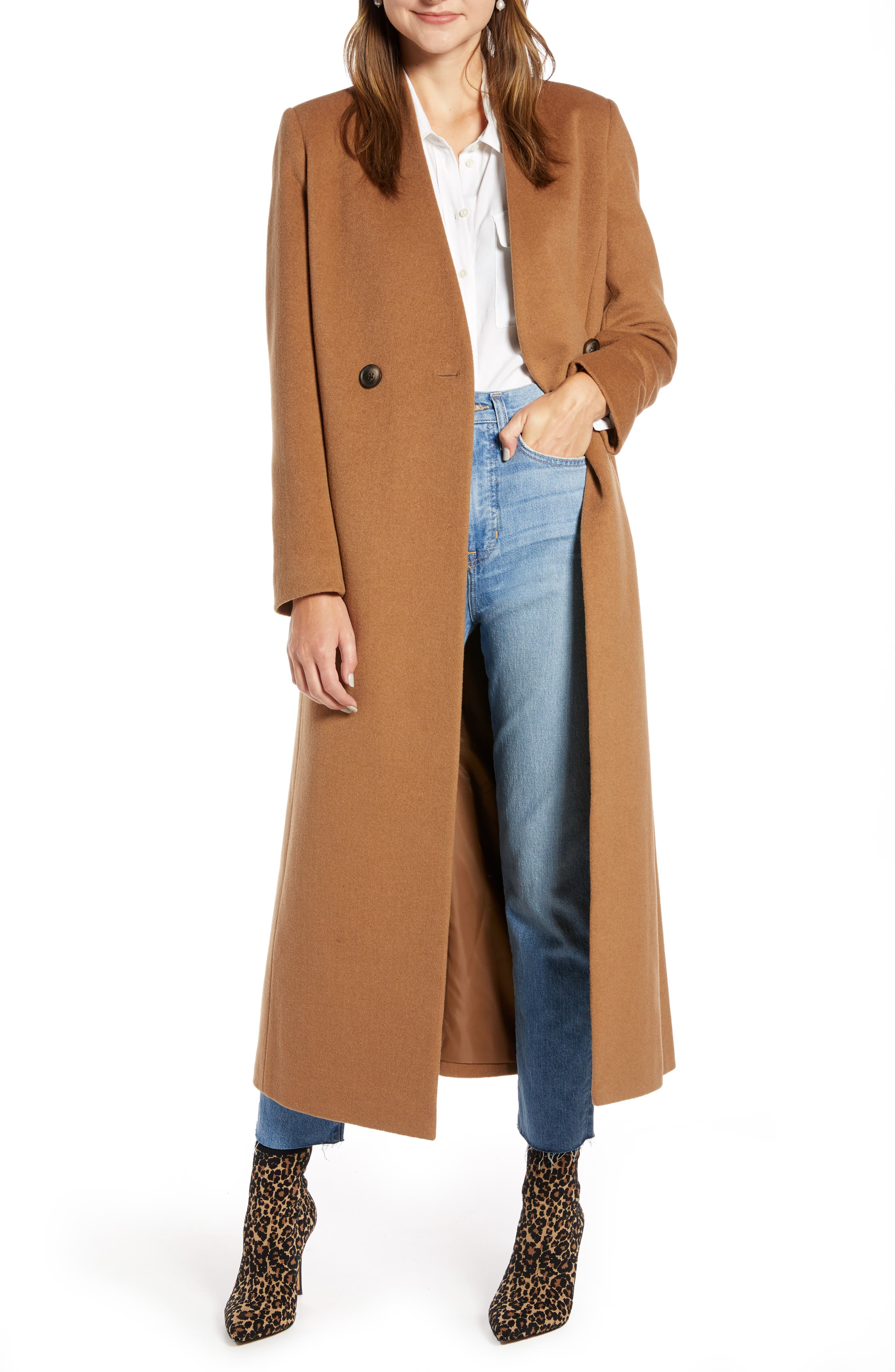 Something Navy Double Breasted Maxi Coat (Nordstrom Exclusive)