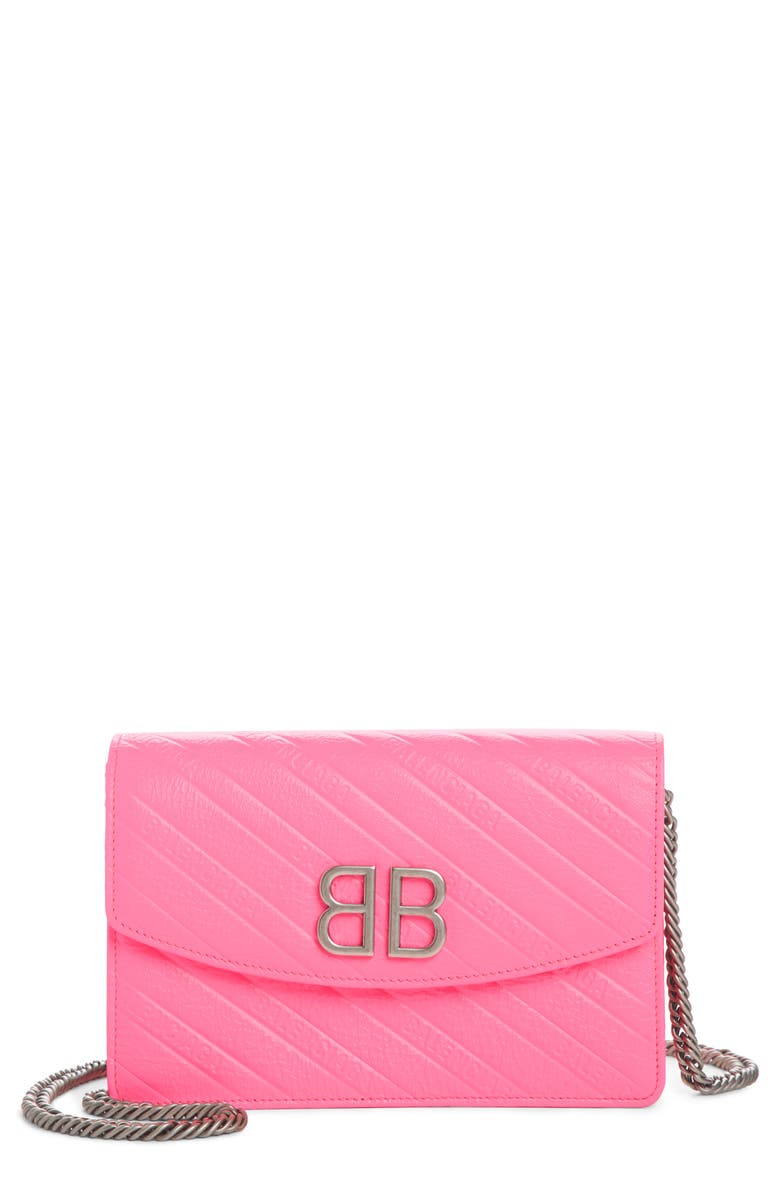 4abbbce6d05 BB Embossed Leather Wallet on a Chain, Main, color, ACID PINK