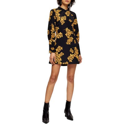 Topshop Floral Print Long Sleeve Minidress, US (fits like 14) - Black