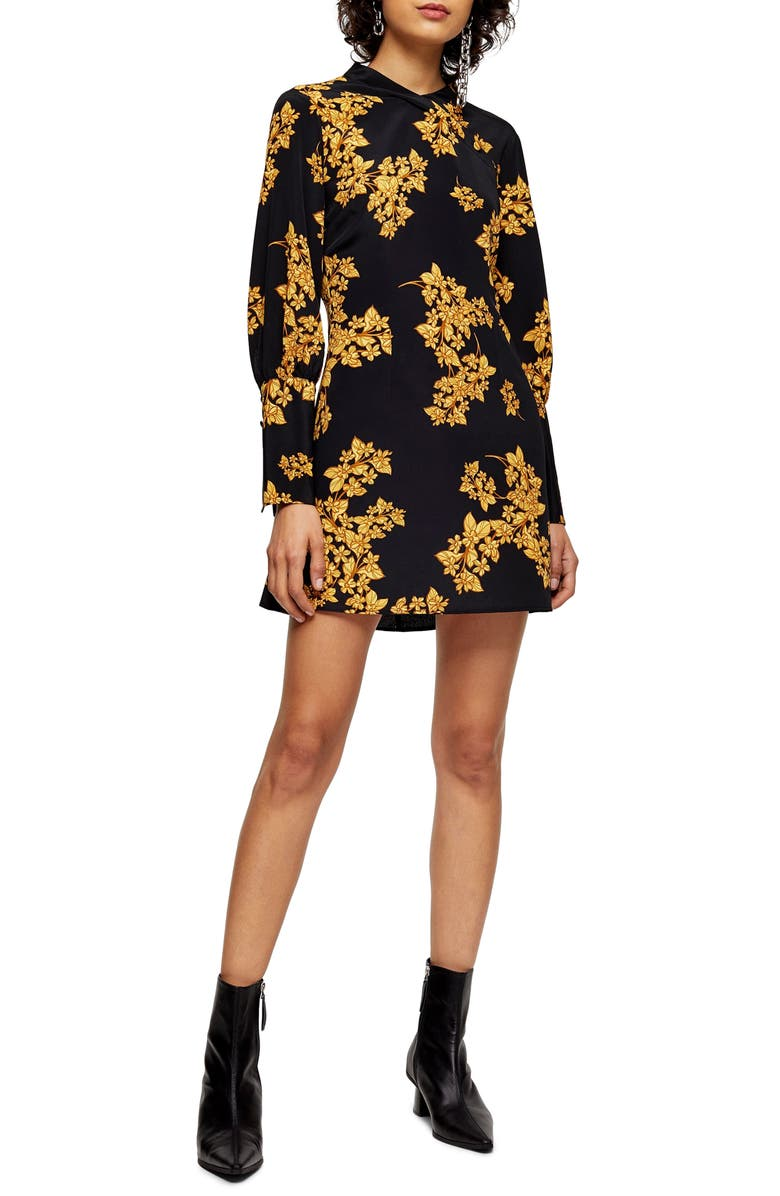 TOPSHOP Floral Print Long Sleeve Minidress, Main, color, 001