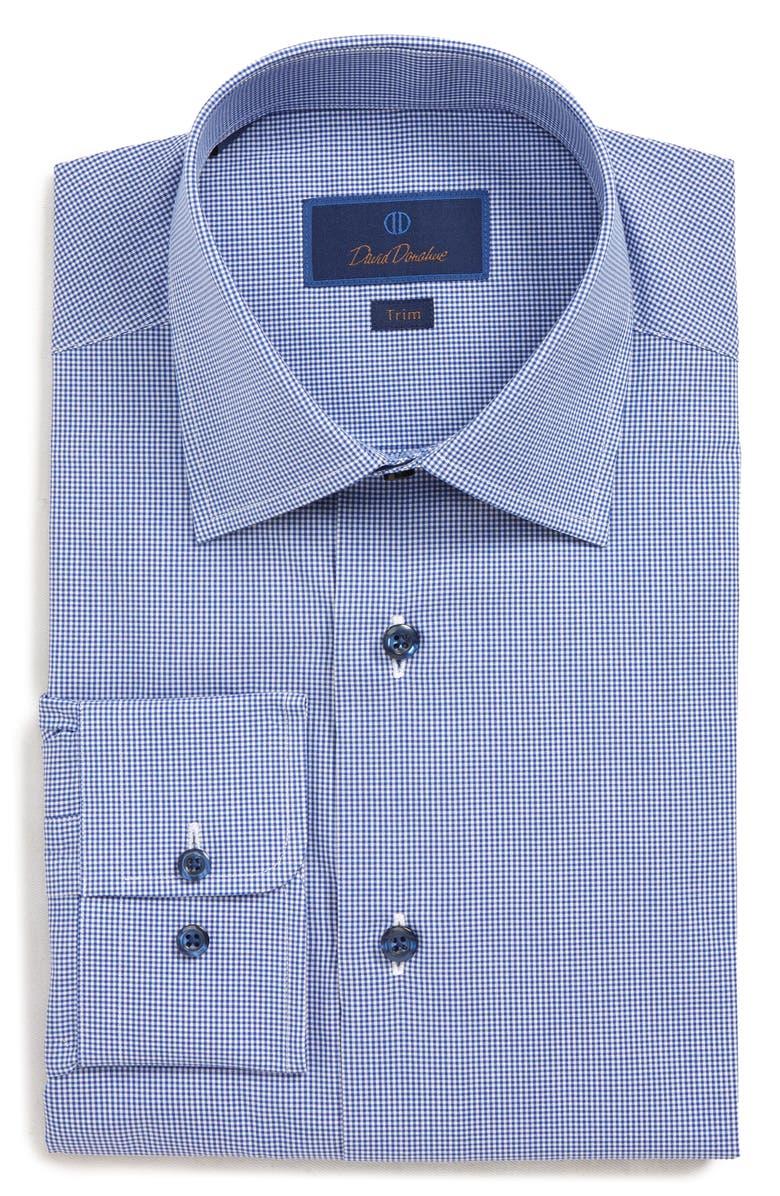 DAVID DONAHUE Trim Fit Plaid Dress Shirt, Main, color, NAVY