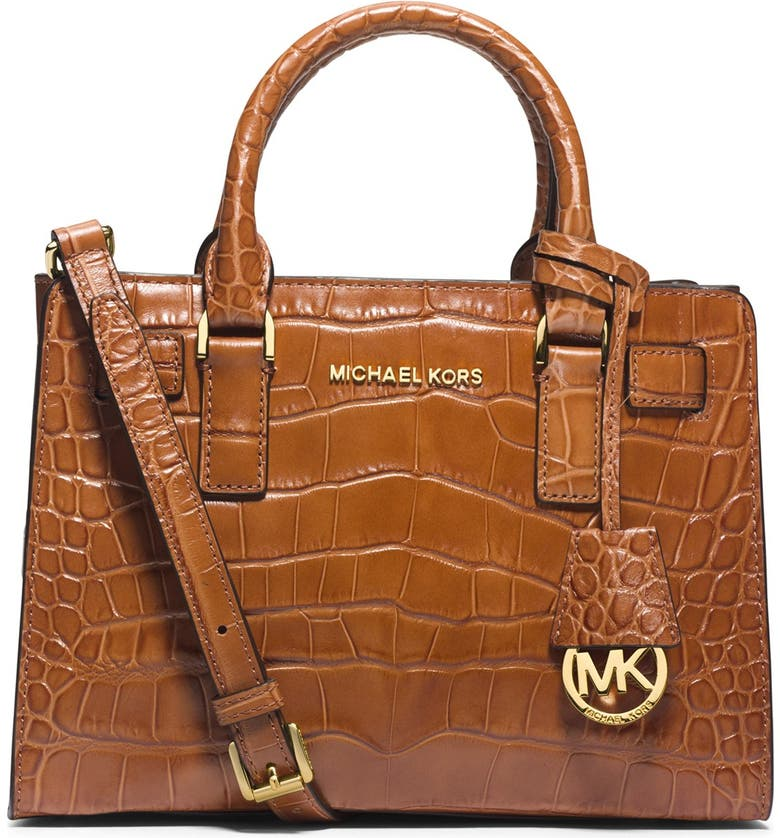 981da7b63a5f MICHAEL Michael Kors 'Small Dillon' Croc Embossed Leather Satchel |  Nordstrom