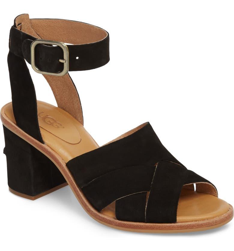 UGG<SUP>®</SUP> Sandra Ankle Strap Sandal, Main, color, 001