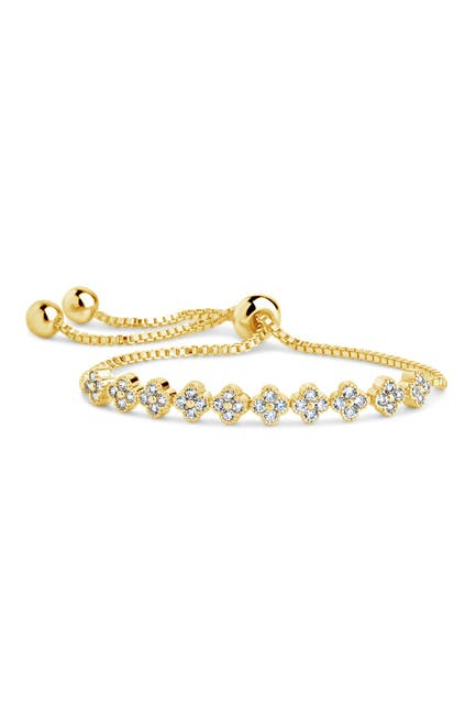 Image of Sterling Forever 14K Gold Plated Brass CZ Clover Slider Bracelet