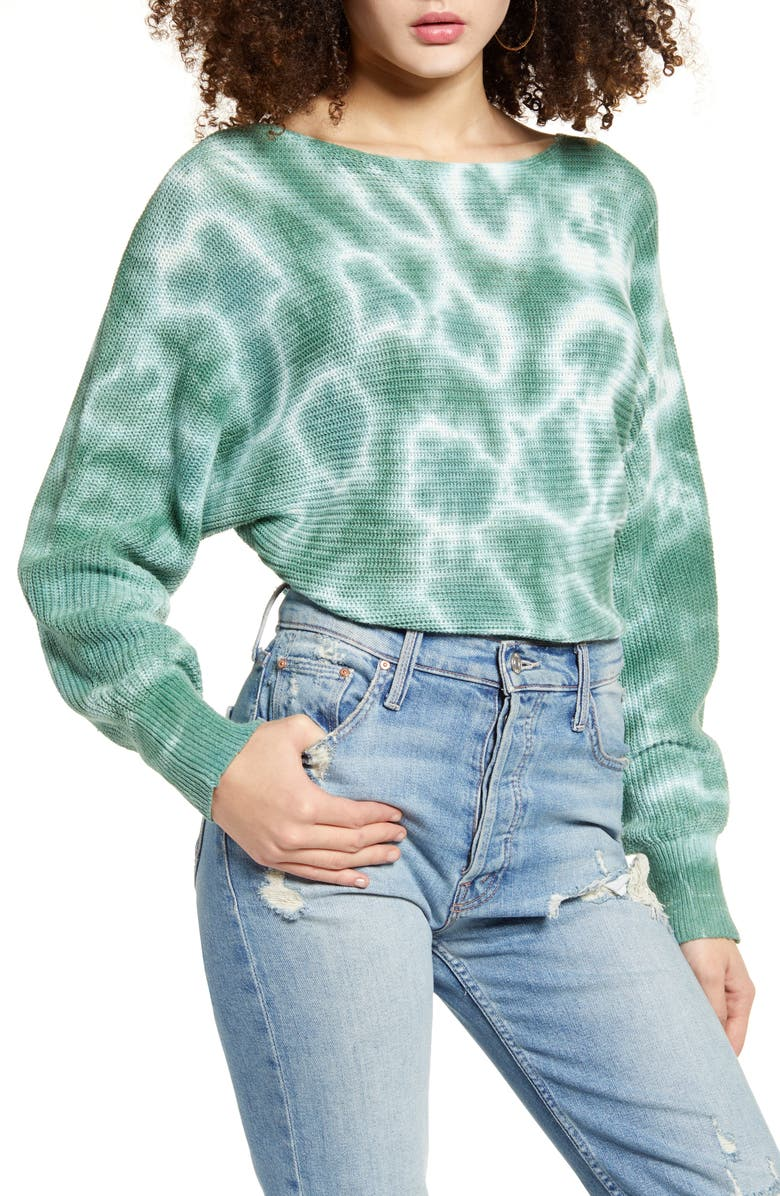 BP. Tie Dye Sweater, Main, color, GREEN WING