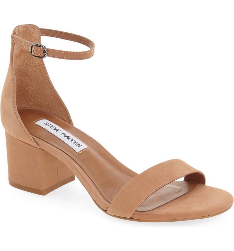 STEVE MADDEN Irenee Ankle Strap Sandal, Main, color, TAN NUBUCK
