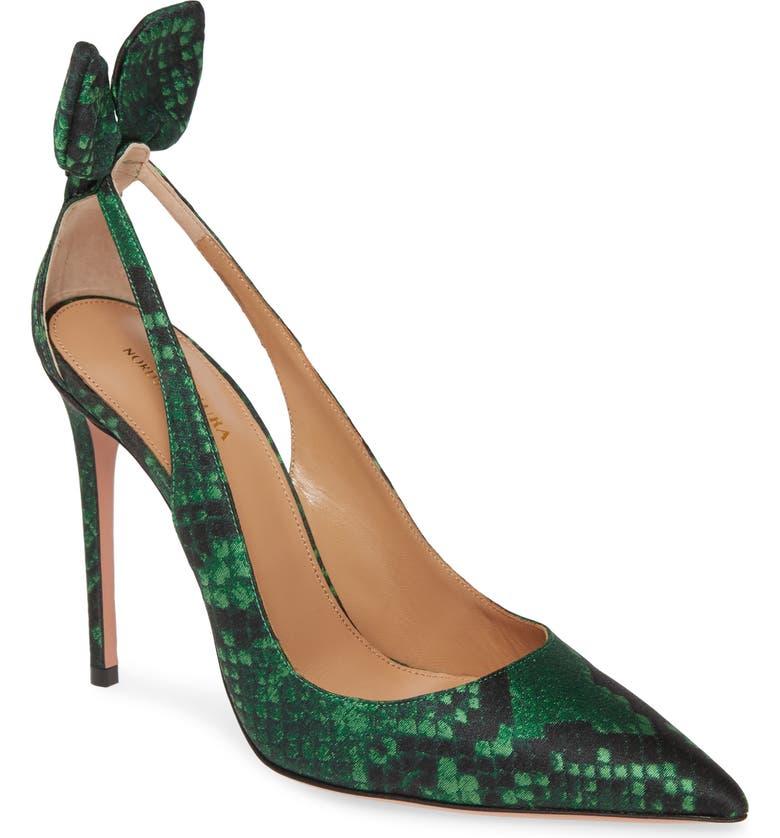 AQUAZZURA Deneuve Snake Print Pointed Toe Pump, Main, color, COUTURE GREEN
