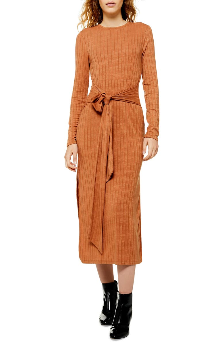 TOPSHOP Tie Waist Long Sleeve Knit Midi Dress, Main, color, 240