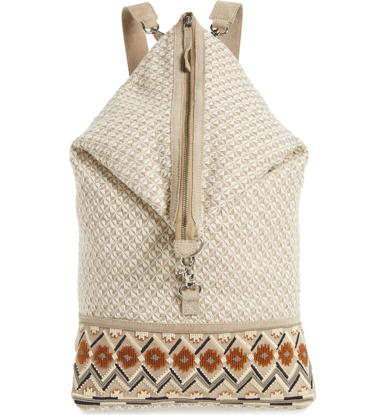 TEN79LA Large Suede Backpack, Main, color, TAUPE