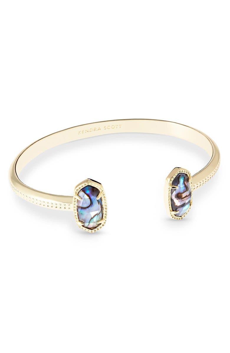 KENDRA SCOTT Elton Station Cuff Bracelet, Main, color, ABALONE/ GOLD