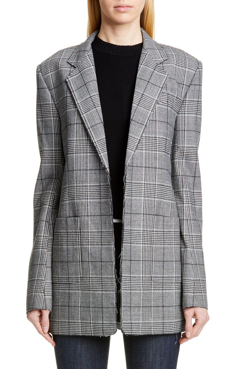 PROENZA SCHOULER Oversize Houndstooth Stretch Wool Blazer, Main, color, BLACK/ WHITE