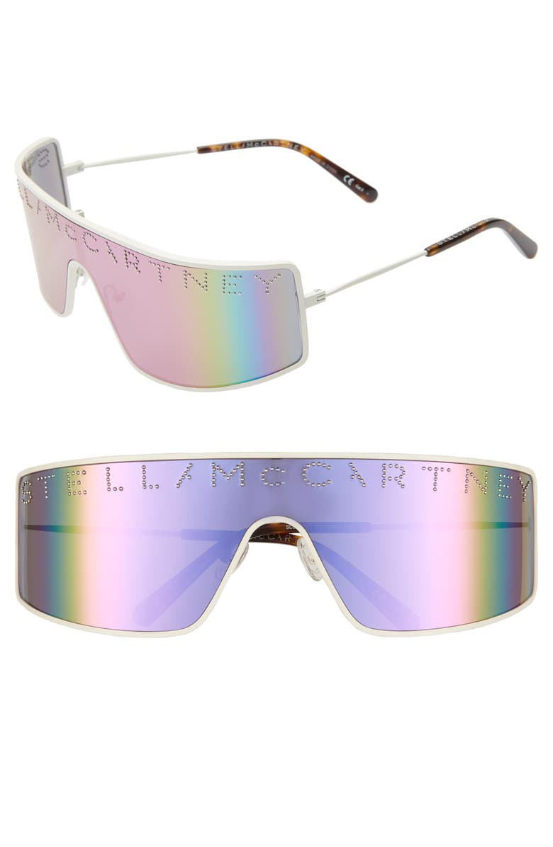 STELLA MCCARTNEY 51mm Shield Sunglasses, Main, color, VARNISHED WHITE/ PINK