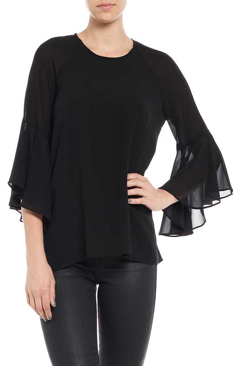 BARDOT Birkin Bell Sleeve Top, Main, color, BLACK