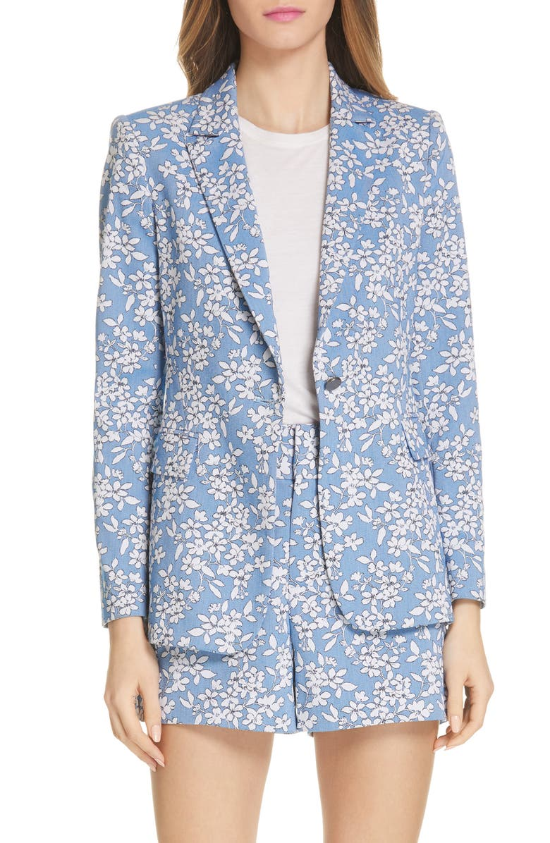 ALICE + OLIVIA Macey Floral Print Cotton Blend Blazer, Main, color, 423