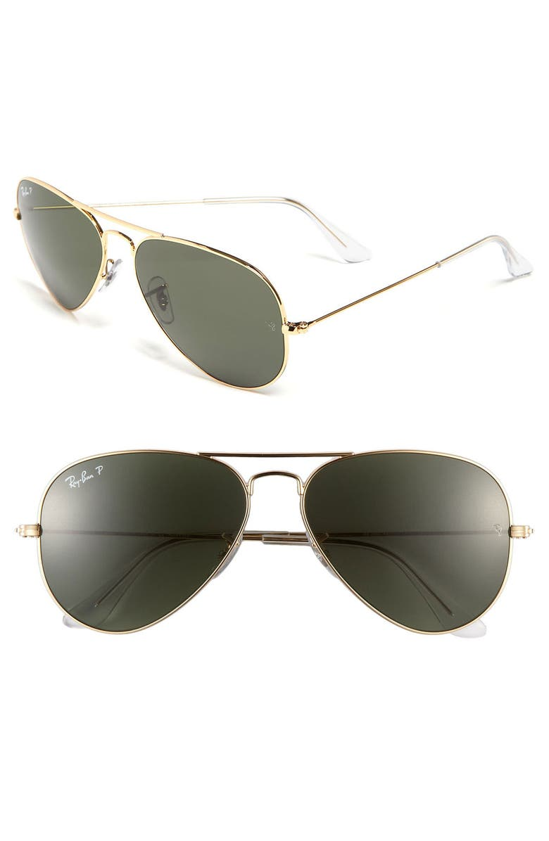 RAY-BAN Original 58mm Aviator Sunglasses, Main, color, GOLD