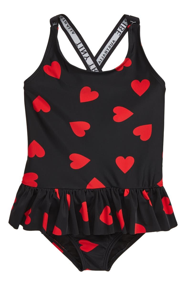 TINY TRIBE Heart Frill Swimsuit, Main, color, BLACK