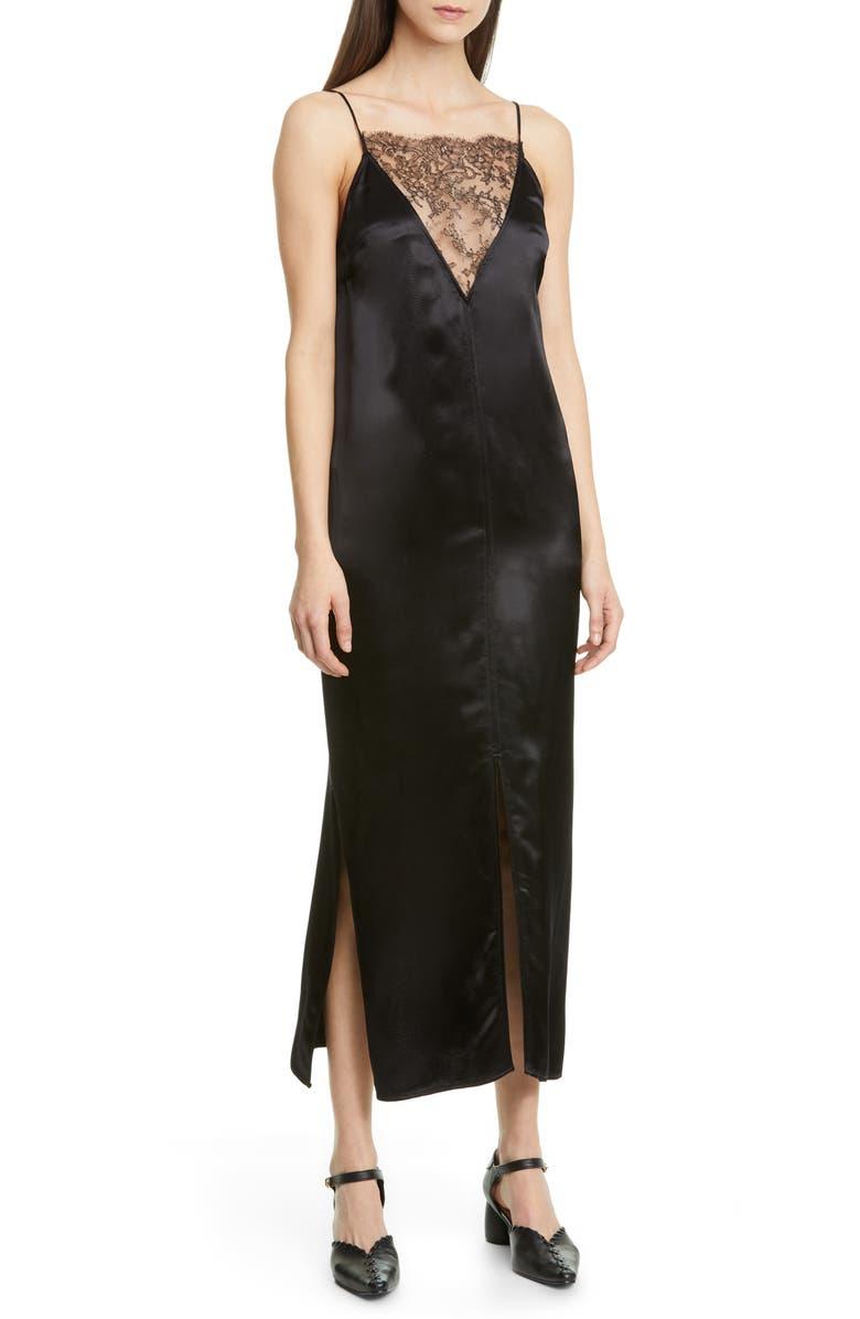 KHAITE Lace Inset Satin Midi Slipdress, Main, color, BLACK