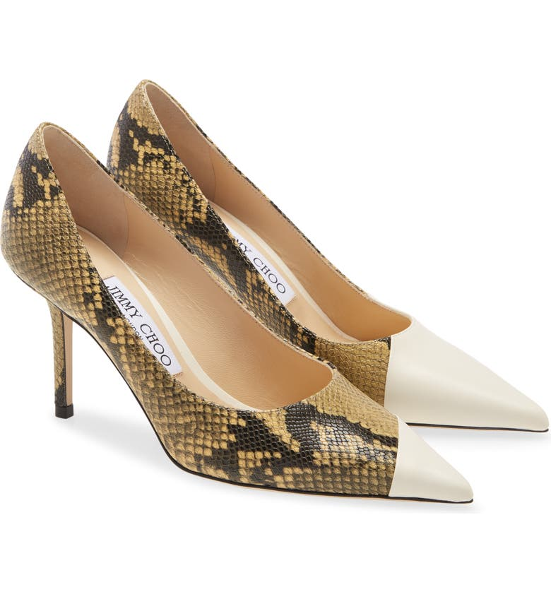 JIMMY CHOO Love Asymmetrical Snake Embossed Pump, Main, color, LATTE/ DIJON