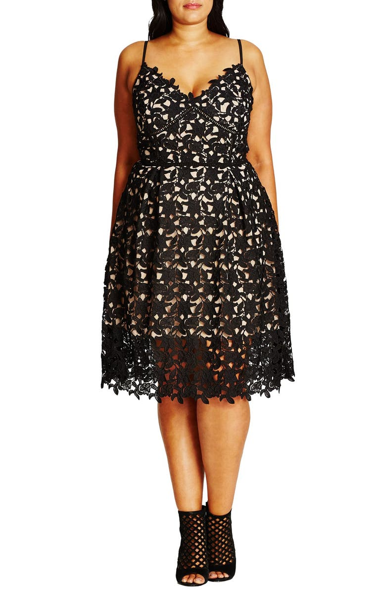 CITY CHIC So Fancy Lace Dress, Main, color, BLACK