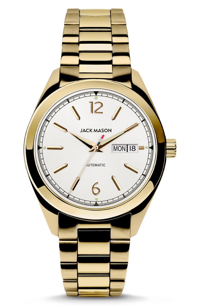 JACK MASON Canton Automatic Bracelet Watch, 40mm, Main, color, WHITE