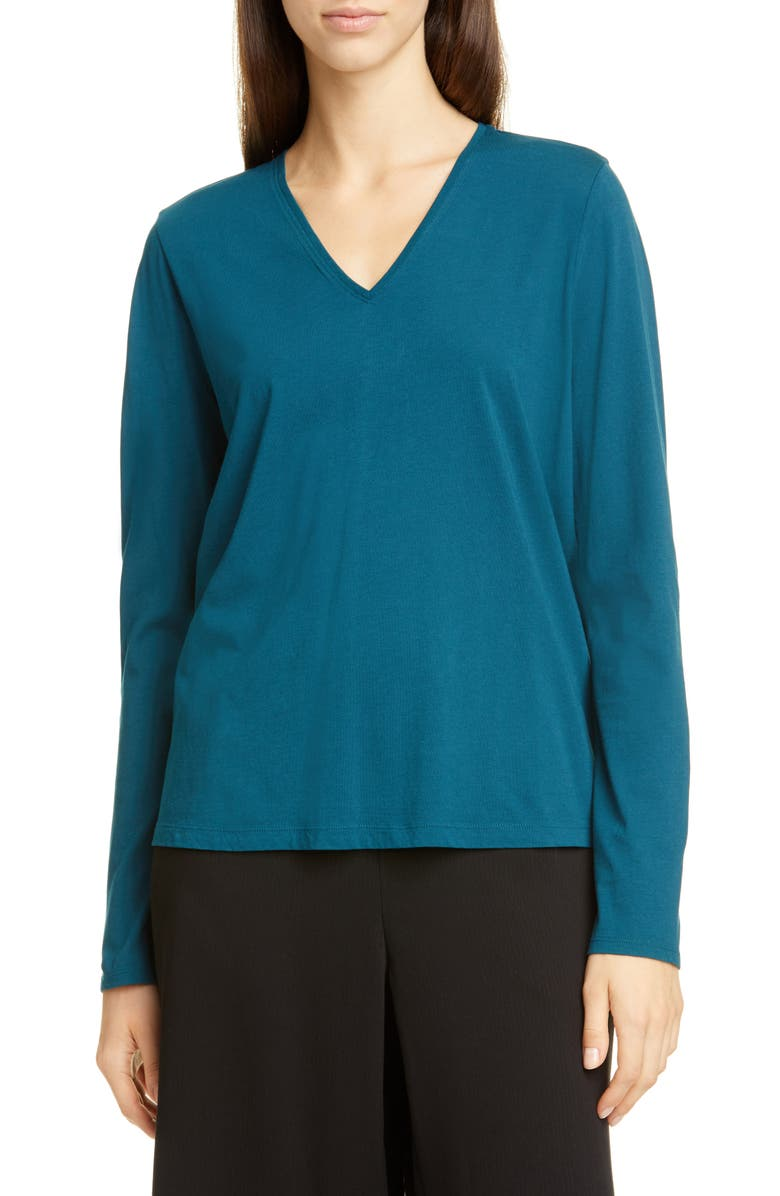 EILEEN FISHER Long Sleeve Organic Cotton Top, Main, color, BLUE SPRUCE