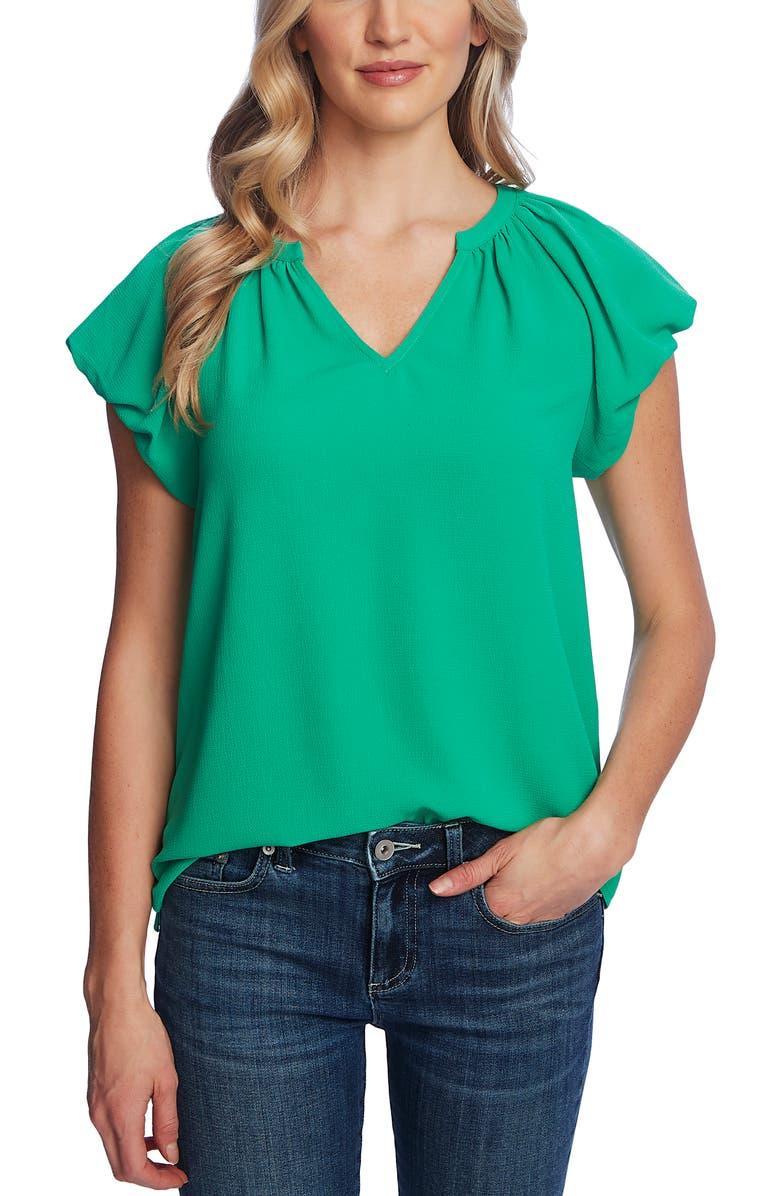 CECE Bubble Short Sleeve Blouse, Main, color, JASMINE GRN
