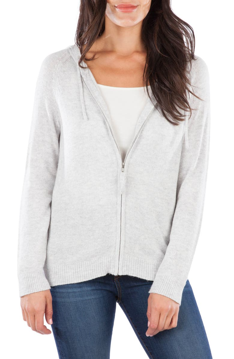 KUT FROM THE KLOTH Lana Zip Front Hooded Sweater, Main, color, HEATHER GREY