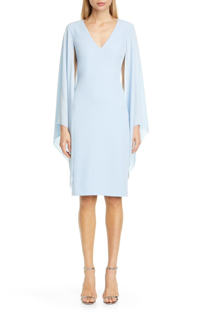 BADGLEY MISCHKA COLLECTION Badgley Mischka Chiffon Cape Sleeve Cocktail Dress, Main, color, LIGHT BLUE