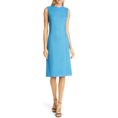 St. John Collection Pebbled Texture Knit Dress, Blue