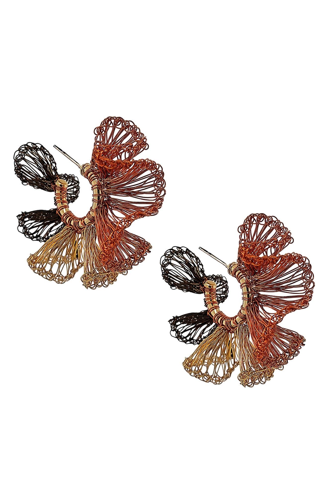 Women's Lavish Coral Ruffle Crochet Hoop Earrings