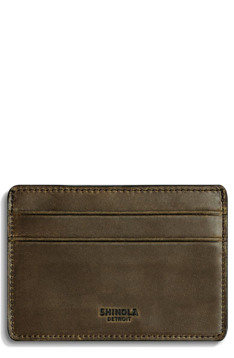SHINOLA Leather Card Case, Main, color, MOSS