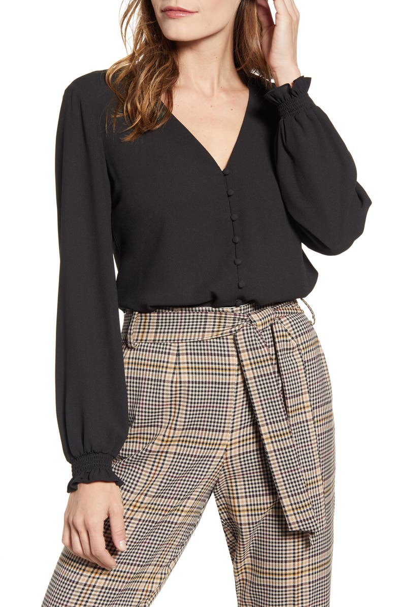 1.STATE Button Front Blouse, Main, color, RICH BLACK
