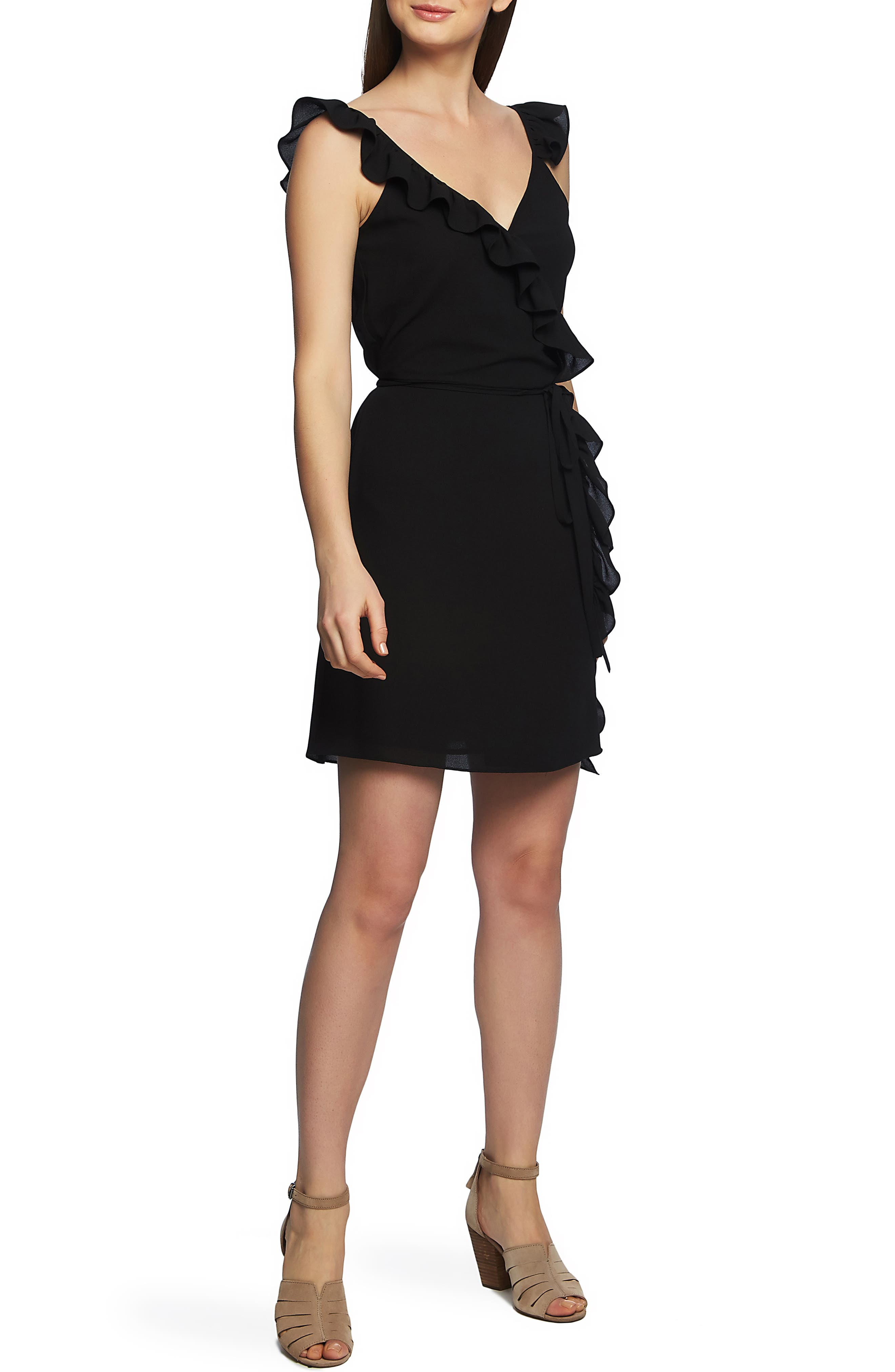 1.state Ruffle Trim Wrap Dress, Black
