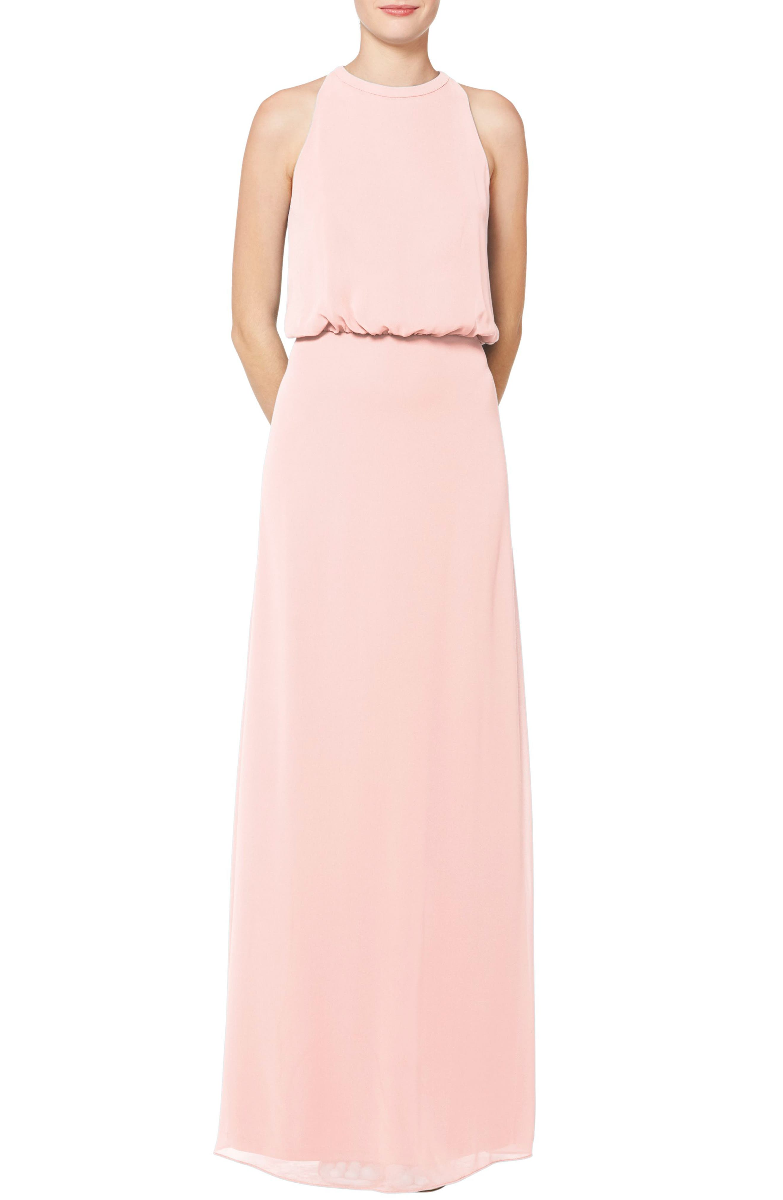 Cut with a high halter-style neck, this blouson chiffon gown provides a flattering fit for most and the opportunity to flaunt silky shoulders. Style Name:#levkoff Halter Neck Blouson Bodice Chiffon Evening Gown. Style Number: 5785829. Available in stores.