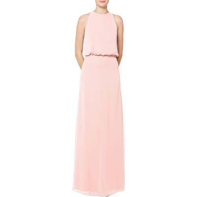 #levkoff Halter Neck Blouson Bodice Chiffon Evening Dress, Pink