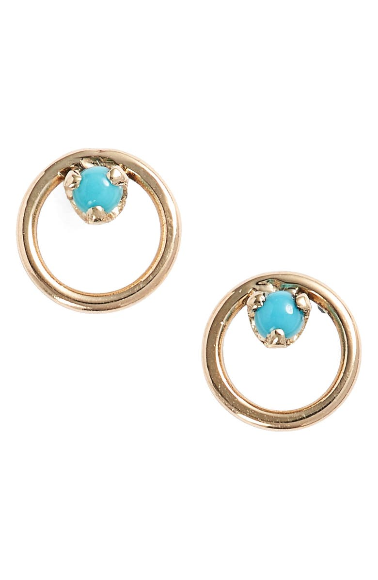 ZOË CHICCO Turquoise Circle Stud Earrings, Main, color, YELLOW GOLD/ TURQUOISE