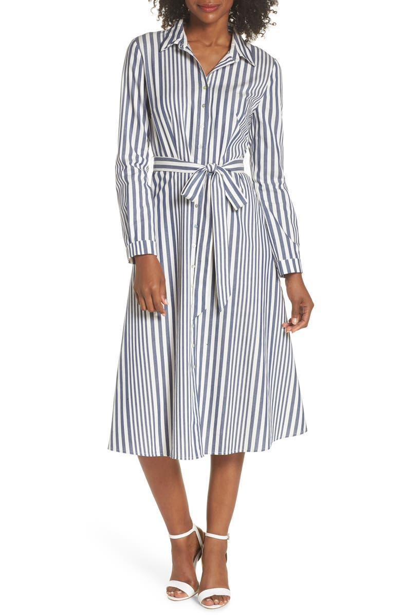 FELICITY & COCO Rachel Stripe Shirtdress, Main, color, 100