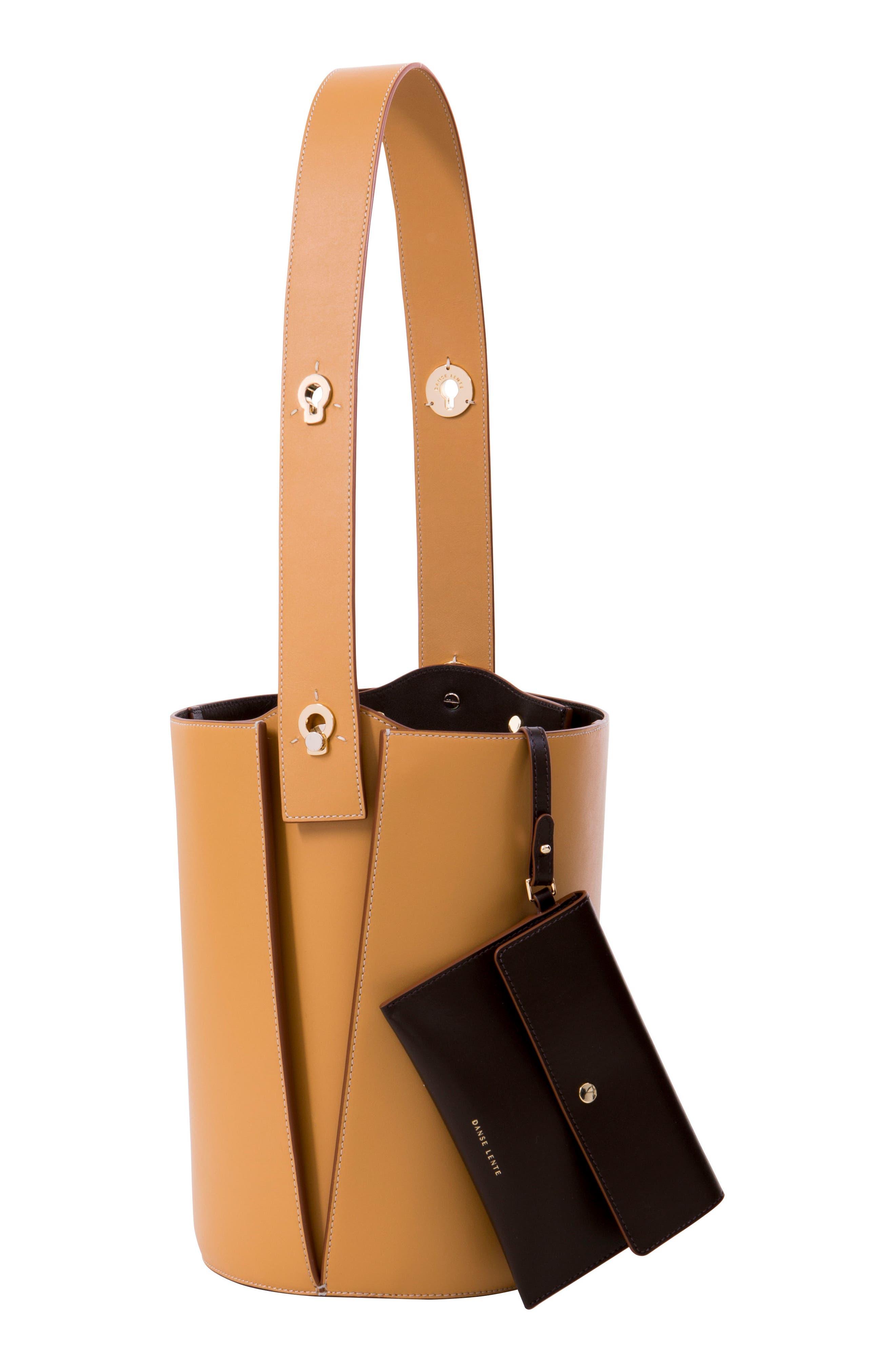 ,                             Mini Lorna Leather Bucket Bag,                             Alternate thumbnail 3, color,                             SAND
