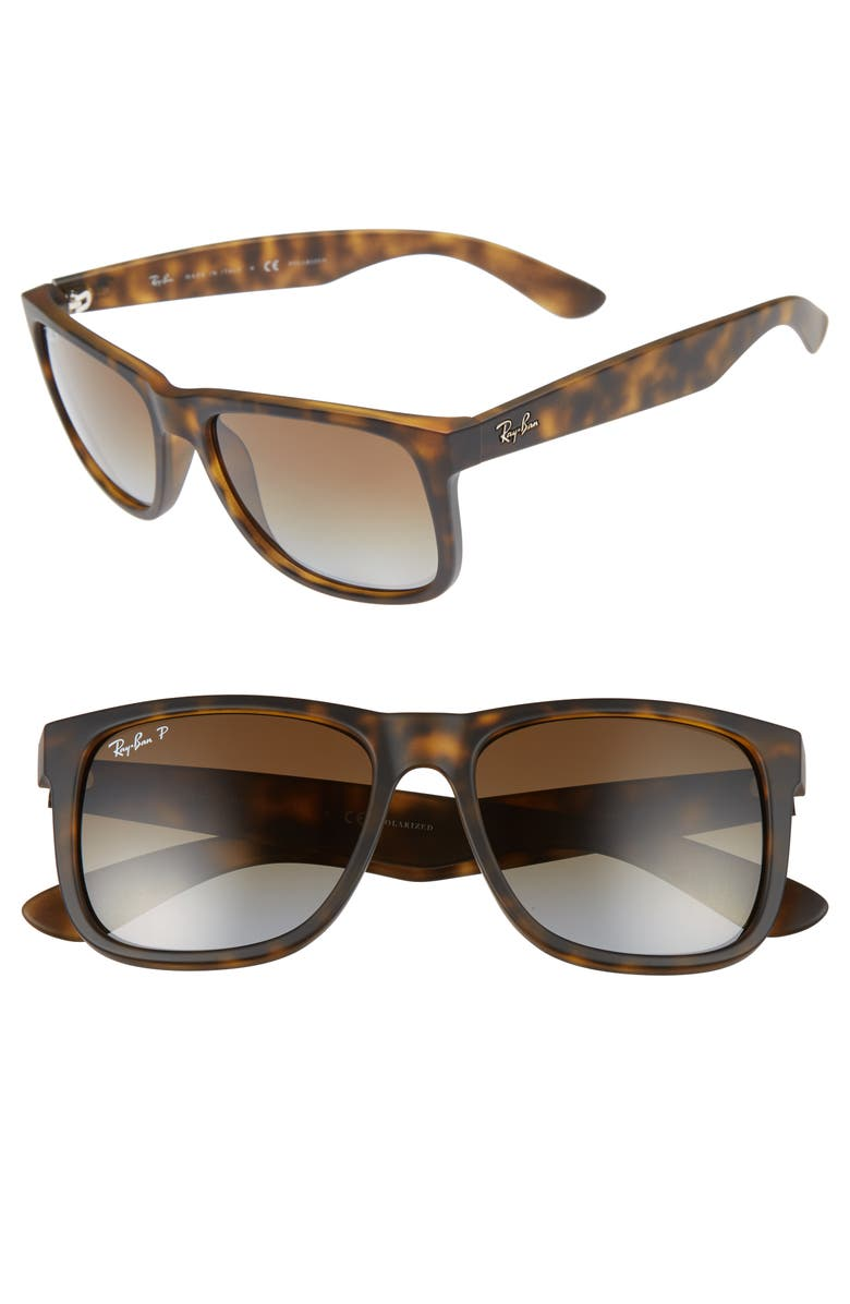 RAY-BAN Justin 54mm Polarized Sunglasses, Main, color, MATTE HAVANA