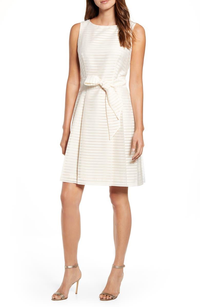 ANNE KLEIN Shadow Stripe Fit & Flare Dress, Main, color, 100