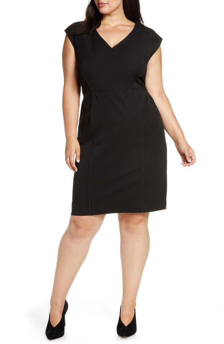 ELOQUII Premier Stretch Sleeveless Sheath Dress, Main, color, TOTALLY BLACK
