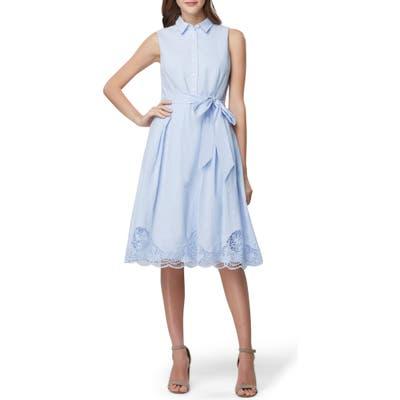 Tahari Lace Detail Cotton Voile Dress, Blue