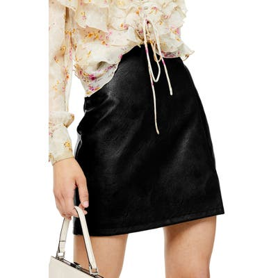 Topshop Faux Leather Miniskirt, US (fits like 0) - Black