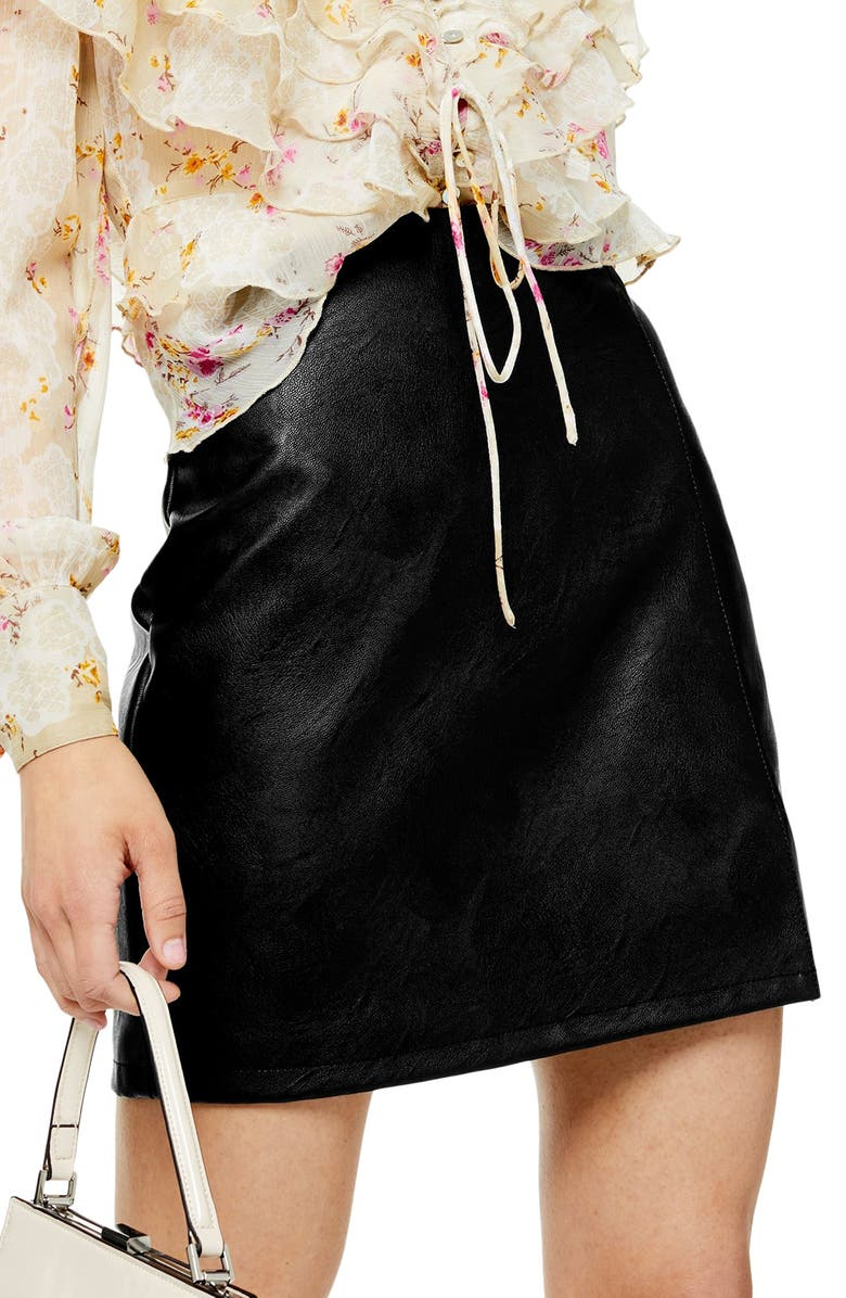 TOPSHOP Faux Leather Miniskirt, Main, color, BLACK