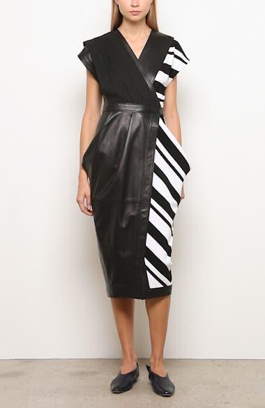 Stripe Silk Crepe & Leather Midi Wrap Dress, video thumbnail