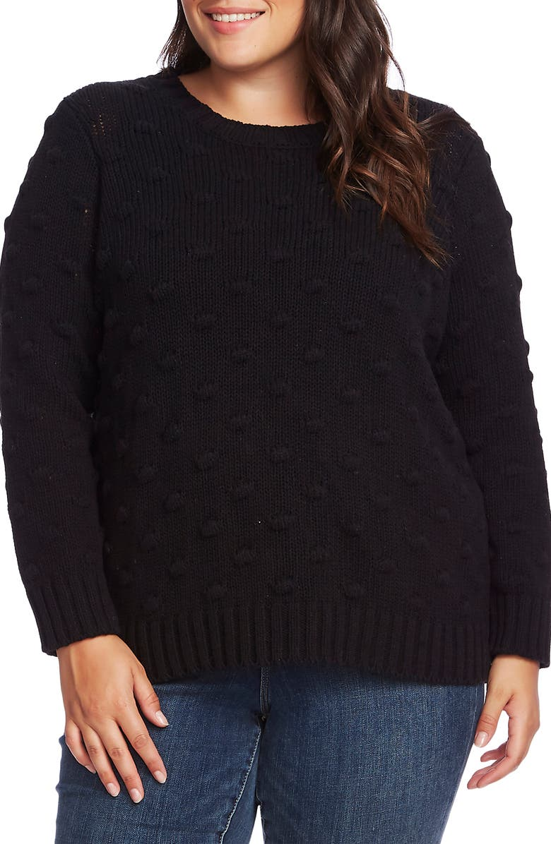 VINCE CAMUTO Popcorn Stitch Sweater, Main, color, RICH BLACK