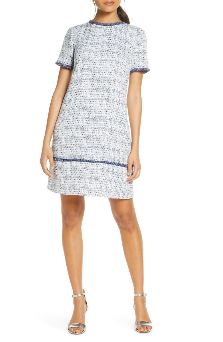 JULIA JORDAN Tweed Shift Dress, Main, color, 459