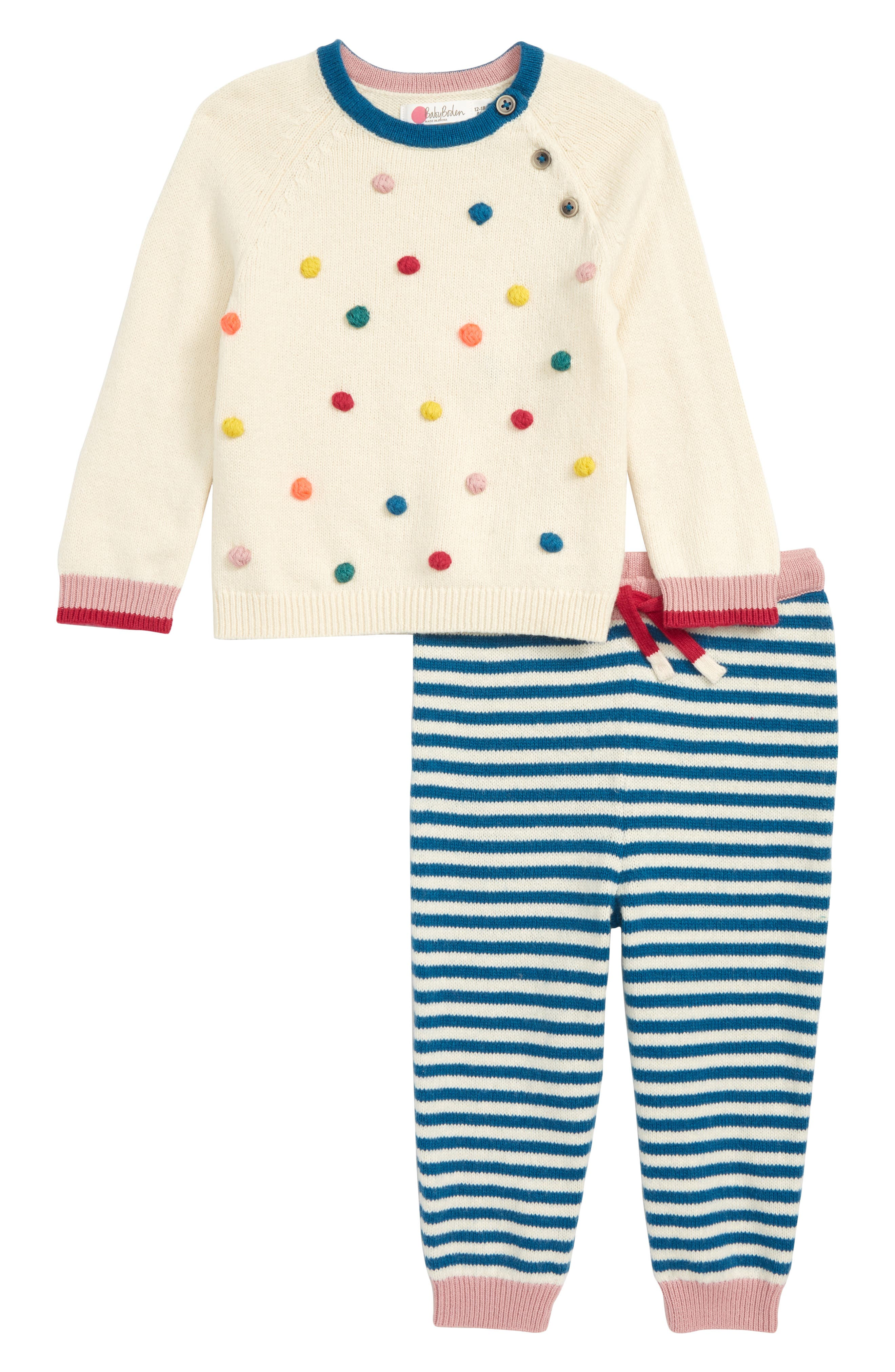 ,                             Pompom Knit Sweater & Pants Set,                             Main thumbnail 1, color,                             100