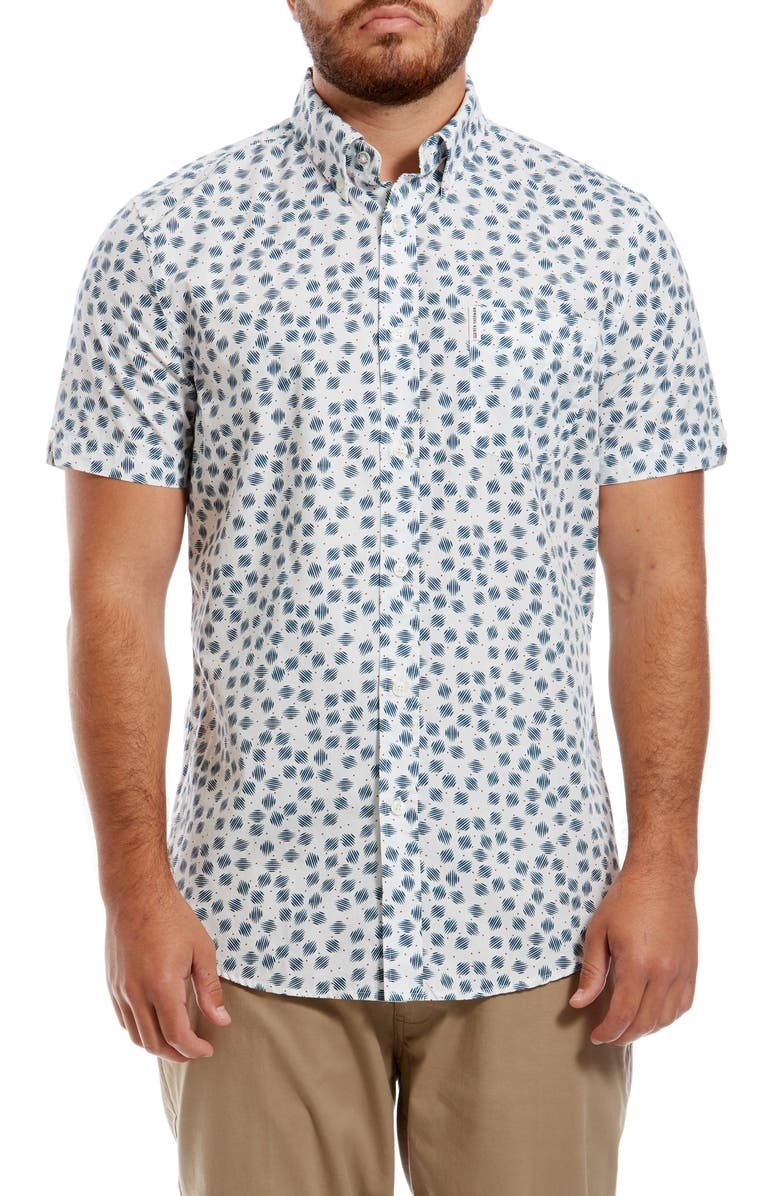 BEN SHERMAN Scattered Scratch Slim Fit Short Sleeve Shirt, Main, color, SNOW WHITE