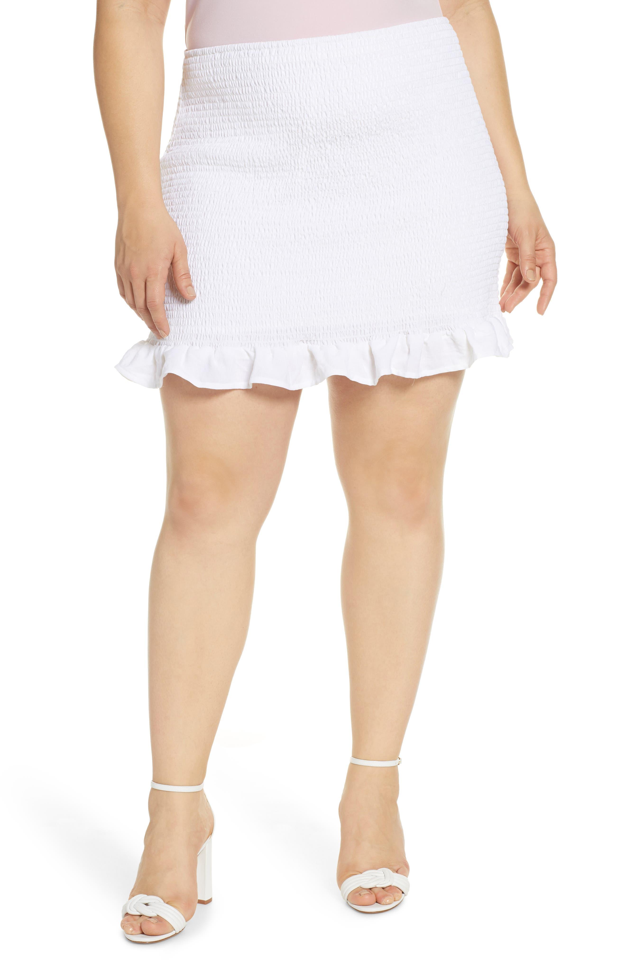 Plus Size Leith Smocked Skirt, White